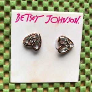 Cute pair of Betsey Johnson heart shaped studs